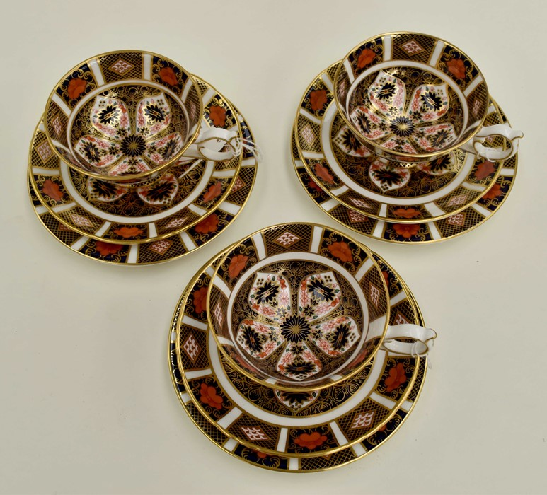Lot 1030 - Three Royal Crown Derby Imari 1128 tea cup trios, second quality