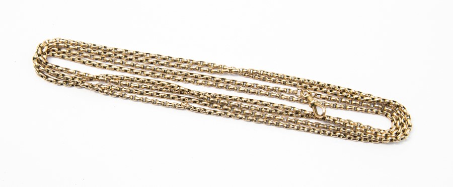 Lot 291 - **REOFFER IN A&C NOV £320-£350** A 9ct gold elongated link guard chain, swivel clasp, length