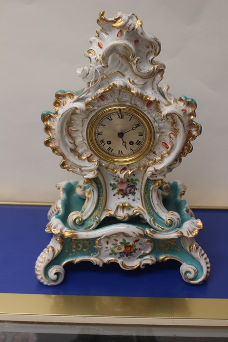 Lot 4027 - **REOFFER IN A&C NOV £100-£120** 19th Century Jacob Petit porcelain hand painted mantle clock,