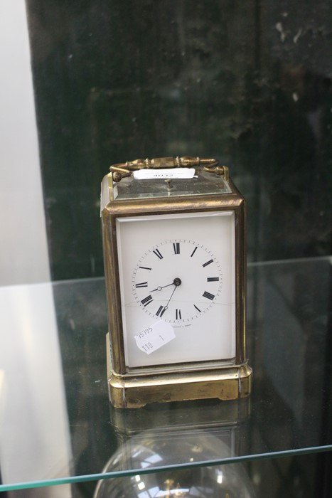 Lot 4032 - Edwardian brass carriage clock with repeater, Roman numerals A/F