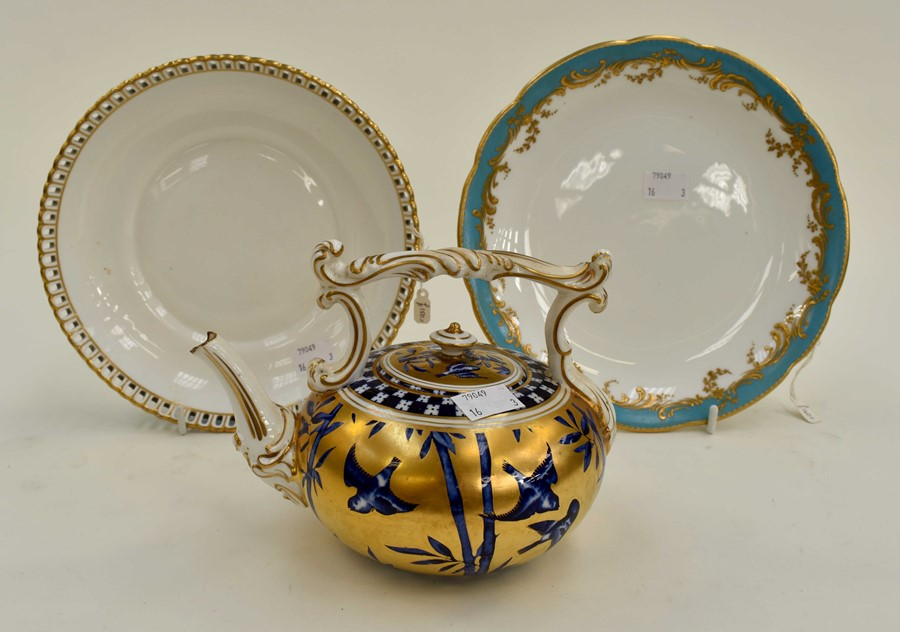 Lot 1084 - **REOFFER IN A&C NOV £60-£80** A late 19th Century teapot with gold ground detail and birds in