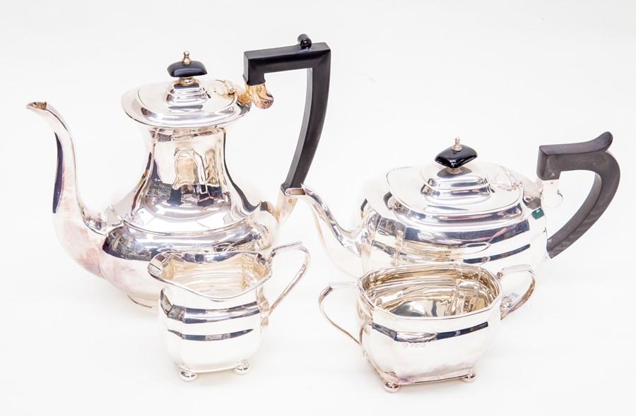 Lot 29 - Sheffield silver tea set including teapot, sugar bowl, milk jug similar style, hallmarked