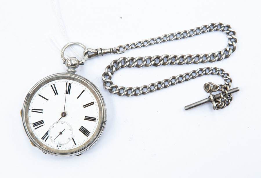 Lot 408 - A silver cased, 19th Century pocket watch and chain, 4.3 ozt approx