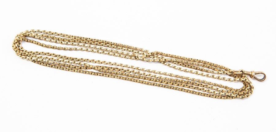 Lot 290 - **REOFFER IN A&C NOV £200-£250** A 9ct gold guard chain, swivel clasp, length approx 60'', total