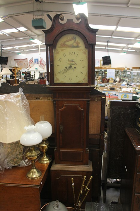 Lot 4003 - 19th Century mahogany longcase clock by Thomas Mawkes in Derby with hand painted dial