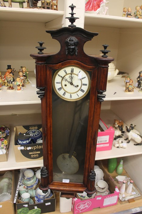 Lot 4009 - A mahogany wall clock