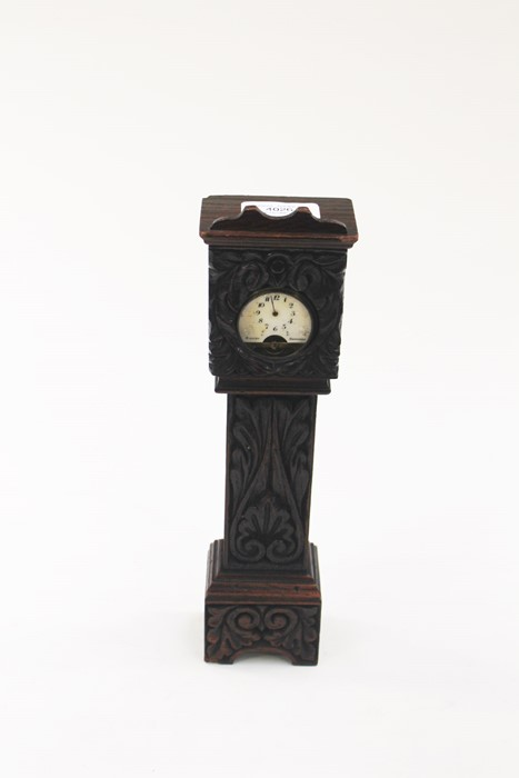 Lot 4026 - **REOFFER IN A&C NOV £40-£60** Mantle clock, long case with pocket watch inside