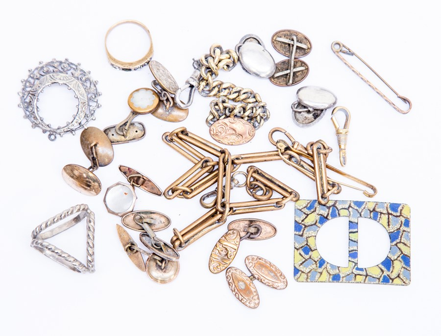 Lot 176 - Assorted cuff links, some gold metal fronted, watch chain etc parcel lot