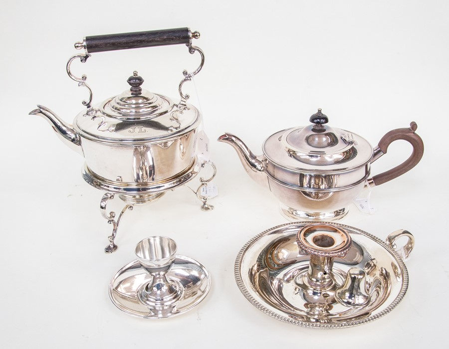 Lot 13 - A collection of silver plate to include Tea Pot, Candle Holder and a Tea Pot and Egg Cup with a