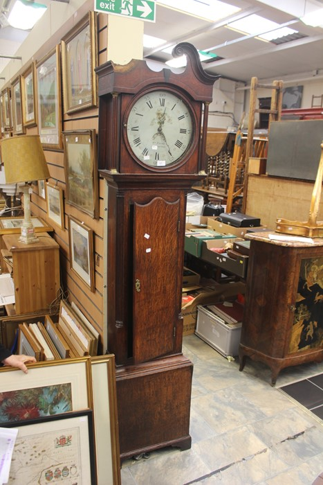 Lot 4002 - **REOFFER IN A&C NOV £350-450** Early 19th Century oak cased clock, round painted dial, W. Timmis of