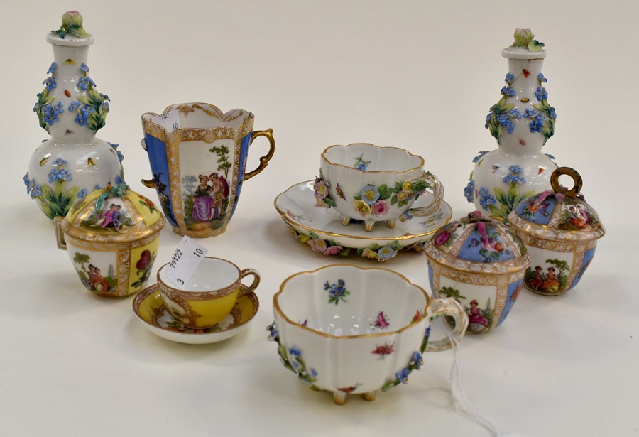 Lot 1055 - Collection of Meissen and other German factory pieces including cups and saucers, posy vases etc (