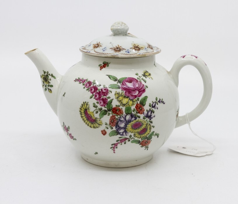 Lot 1002 - **REOFFER IN A&C NOV £30-£40** An 18th century teapot, probably Pennington of Liverpool, of cannon