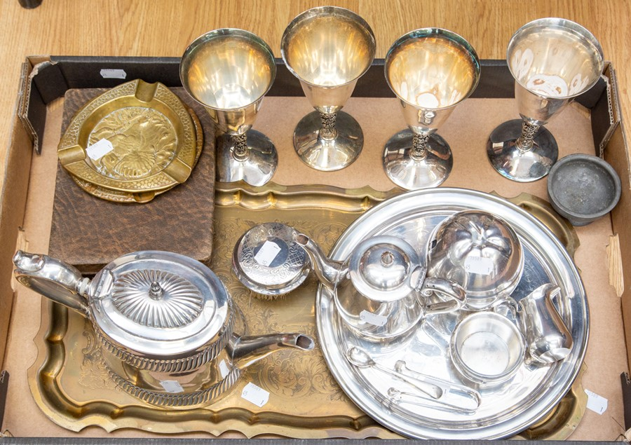 Lot 24 - Plated and metal ware to include tea set/tray additional teapot etc (1 box)