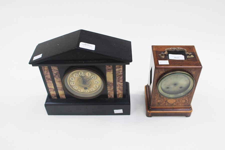 Lot 4035 - A Victorian Doric Temple black slate 8 day mantle clock, together with a French inlaid boxwood clock