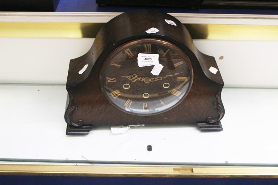 Lot 4025 - Mid 20th Century dark mantle clock, Roman numerals