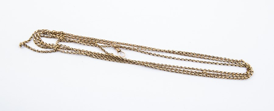 Lot 305 - **REOFFER IN A&C NOV £120-£160** A 9ct gold guard chain, swivel clasp (a/f broken link), length