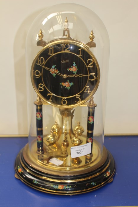Lot 4039 - **AWAY** Kundo anniversary clock, 20th Century with floral detail