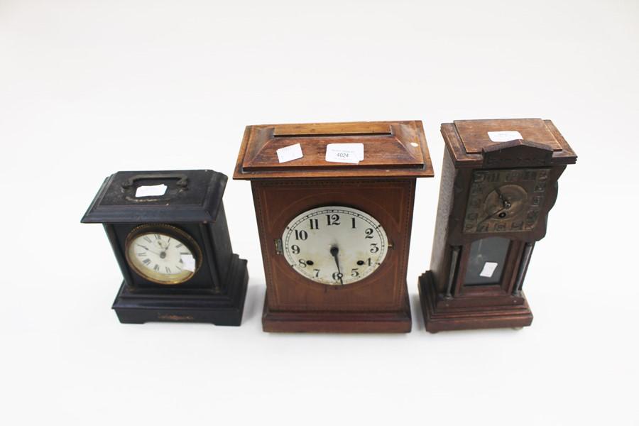 Lot 4024 - Three early 20th Century mantle clocks