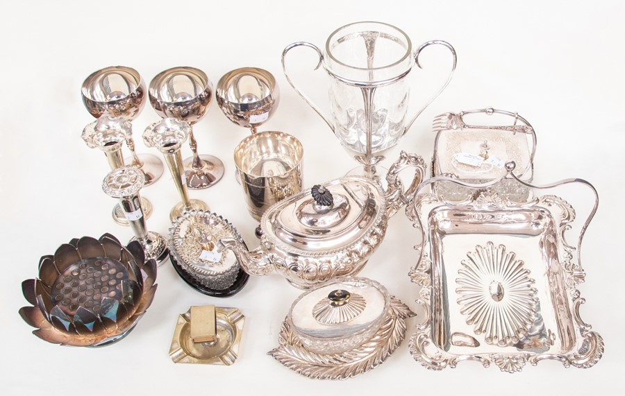 Lot 7 - A quantity of silver plate including EPBM teapot, sardine dish, two butter dishes etc (Q)