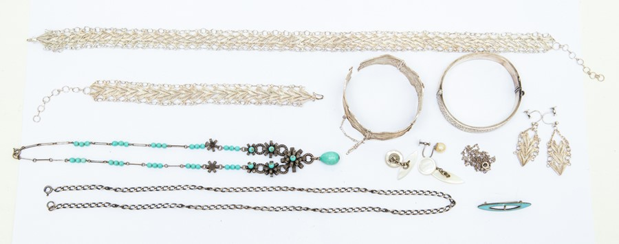 Lot 150 - Filigree silver necklace, bracelets and earrings, a silver bangle, a silver chain and an enamel