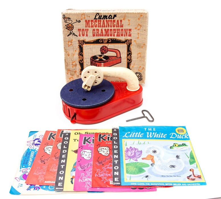 Lot 56 - Lumar Mechanical Toy Gramophone: A boxed, plastic, Lumar Mechanical Toy Gramophone, Made by Marx,