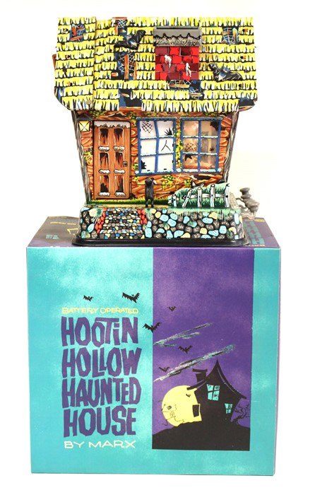 Lot 36 - Hootin Hollow Haunted House: A boxed, battery operated, tinplate, Hootin Hollow Haunted House,