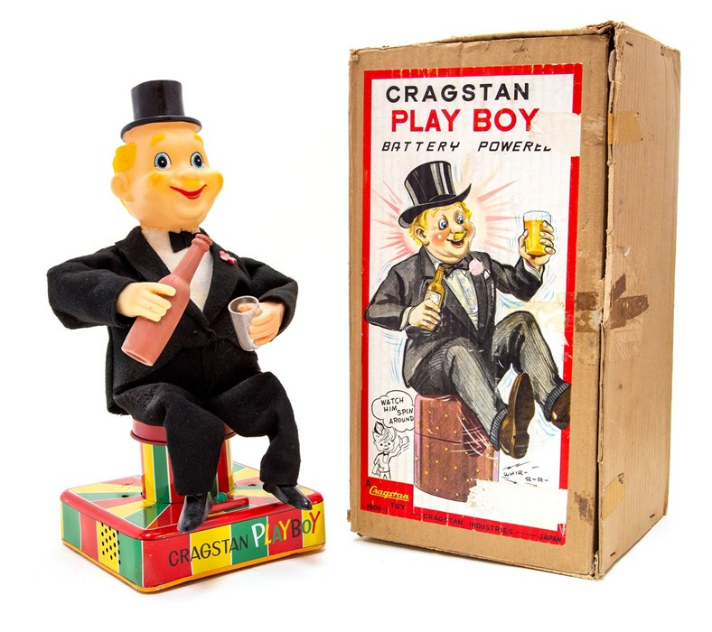 Lot 59 - Playboy: A boxed, battery operated, tin and plastic, Cragston Playboy, Made in Japan, complete