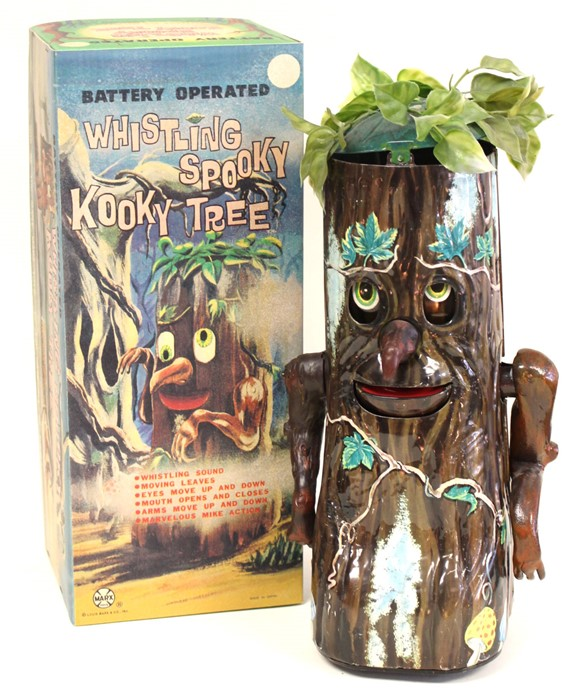 Lot 35 - Whistling Spooky Kooky Tree: A boxed, battery operated, tinplate, Whistling Spooky Kooky Tree,