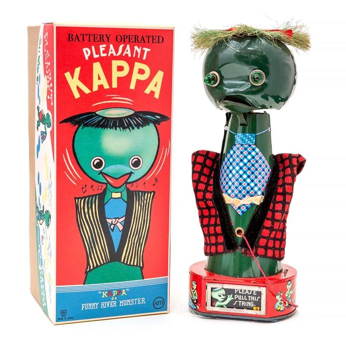 Lot 10 - Pleasant Kappa: A boxed 1950's, battery operated, tinplate, Pleasant Kappa, unusual Japanese