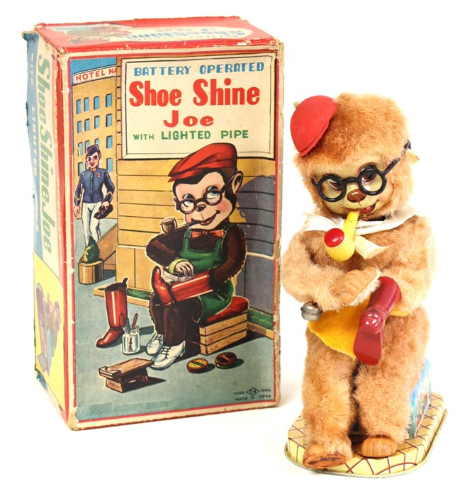Lot 37 - Shoe Shine Joe: A boxed, battery operated, Shoe Shine Joe with Lighted Pipe, Made by Nomura,