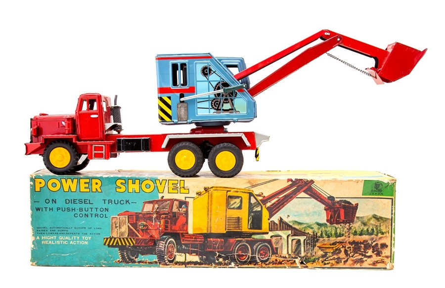 Lot 53 - Power Shovel: A boxed, tinplate, push button control, Power Shovel on a Diesel Truck, Made in Japan,