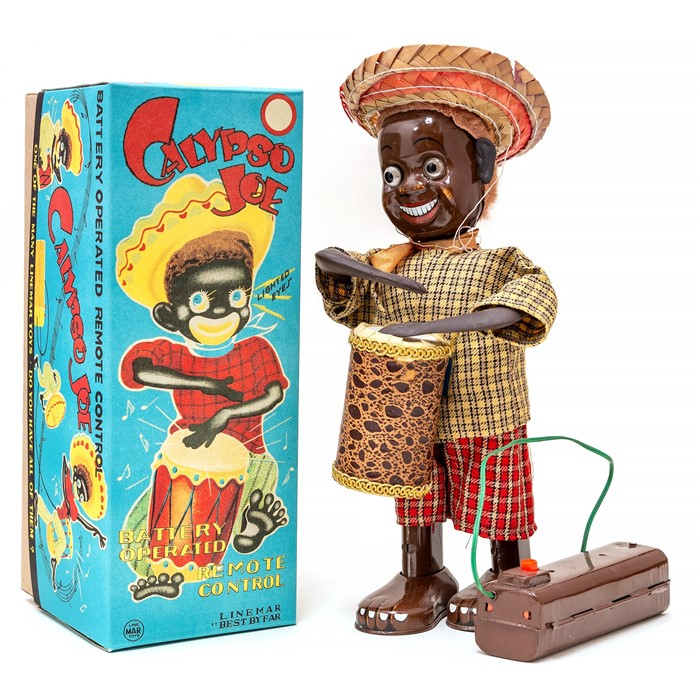 Lot 6 - Calypso Joe: A boxed 1950's battery operated, remote control, tinplate, Calypso Joe, Made by Linemar