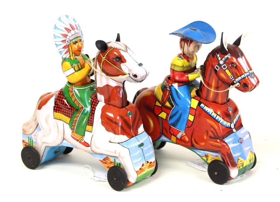 Lot 20 - TT Toys: A pair of unboxed, mid-20th century, friction, tinplate comprising: Cowboy on Horse, height