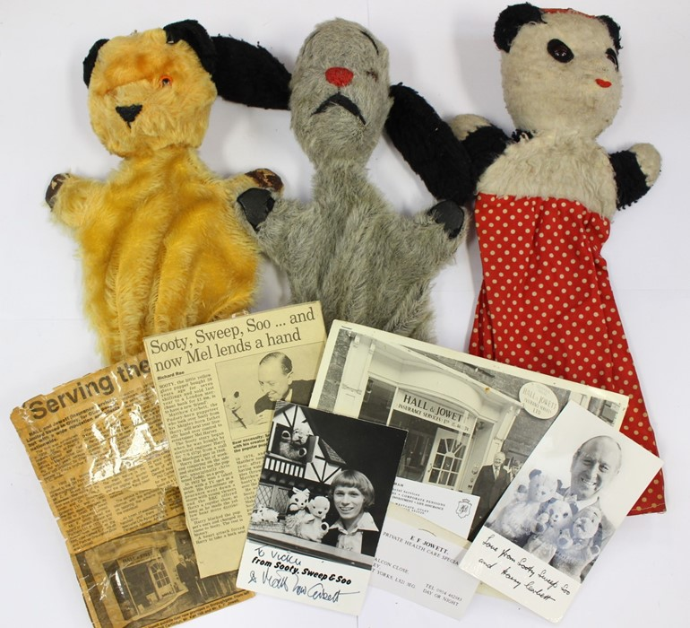 Lot 3351 - Original Sooty, Sweep and Soo hand puppets, paperwork and photographs included