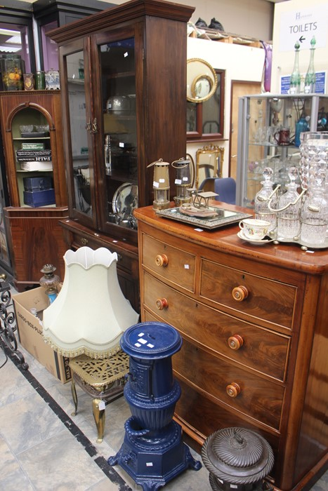 Lot 4111 - Victorian chest of drawers, two above and three, along with Victorian mahogany book case