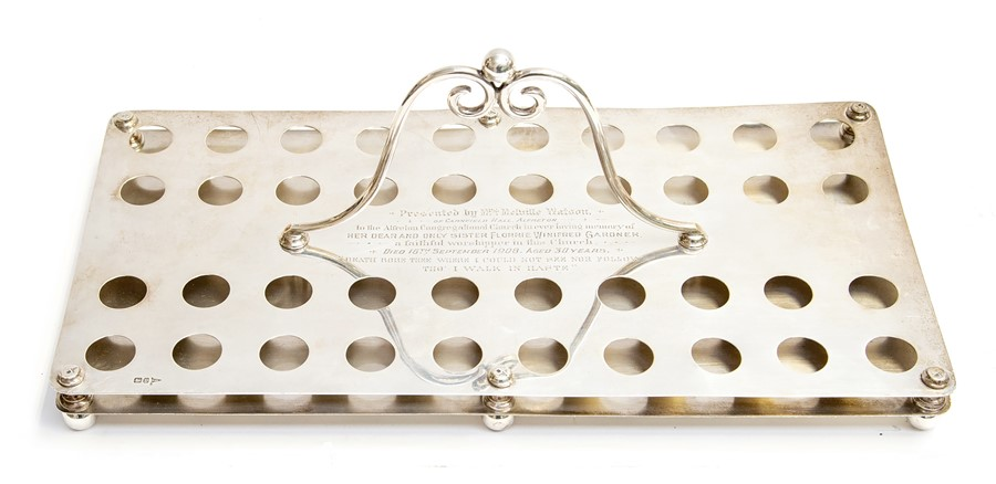 Lot 6 - A George V ecclesiastical silver presentation communion glasses holder, rectangular with central