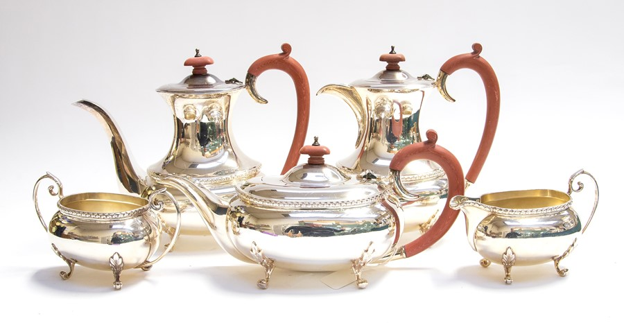 Lot 32 - A Georgian style five piece tea and coffee set comprising coffee pot, teapot, water pot, sugar