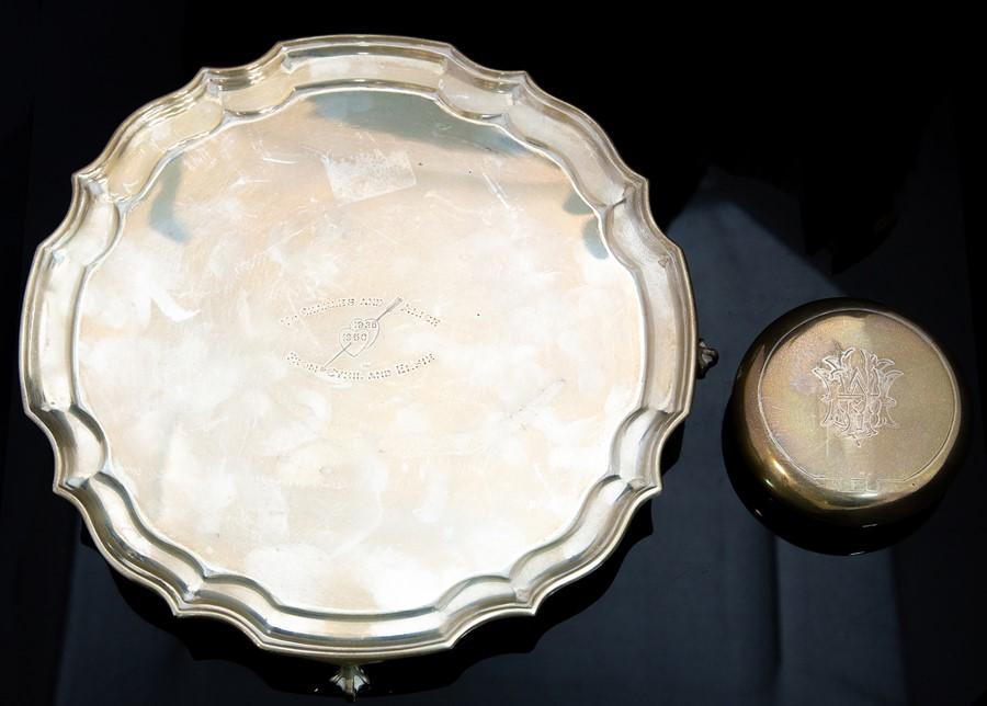 Lot 38 - A 20th Century American silver salver, pie crust rim with presentation inscription dated 1925-1950