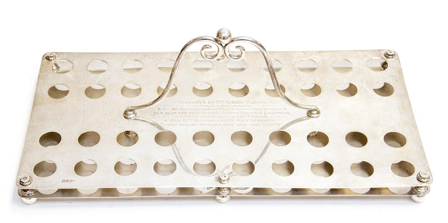 Lot 6A - A George V ecclesiastical silver presentation communion glasses holder, rectangular with central