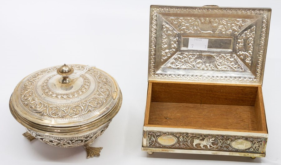 Lot 35 - A collection of Sri Lankan presentation silver, including a large circular charger, a table