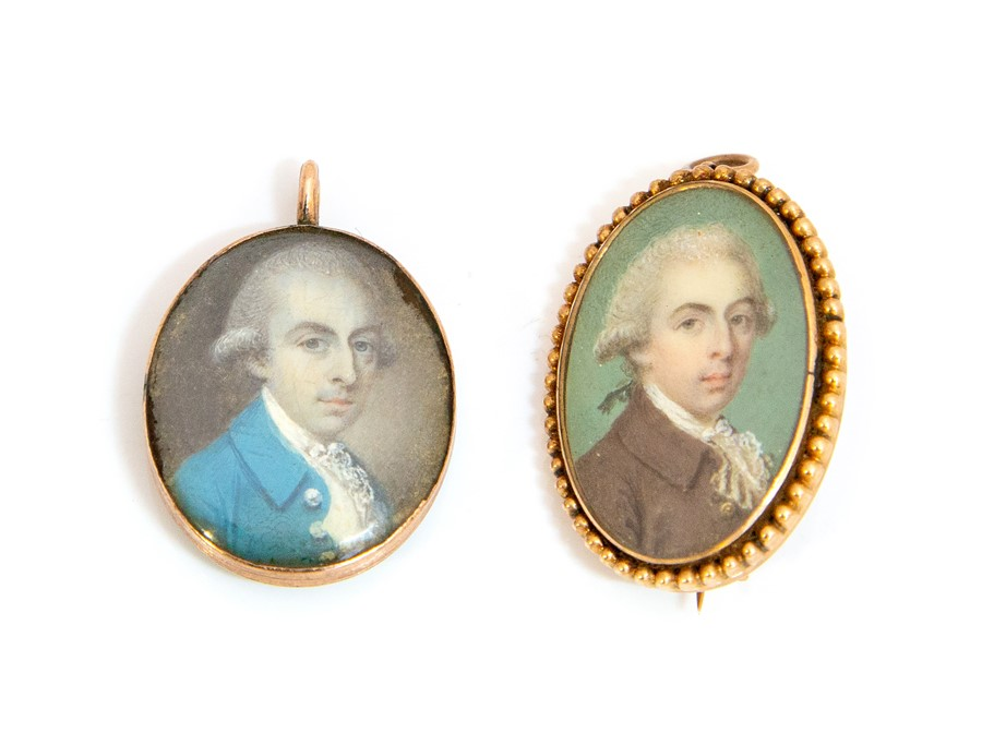 Lot 55 - A Georgian painted miniature portrait brooch/pendant, gold beaded oval border set with miniature