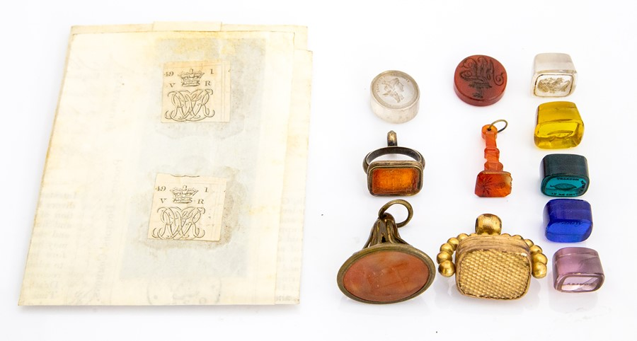 Lot 53 - A collection of eight hardstone and coloured glass unmounted seals, inscribed 'Louisa', 'Fanny' etc;