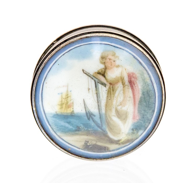 Lot 33 - An 18th century silver and enamel circular patch box, the cover painted with Hope leaning on an