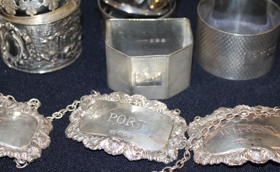 """Lot 25 - A set of three matched silver rectangular decanter labels, """"Port"""", """"Gin"""" and """"Whisky"""", by"""