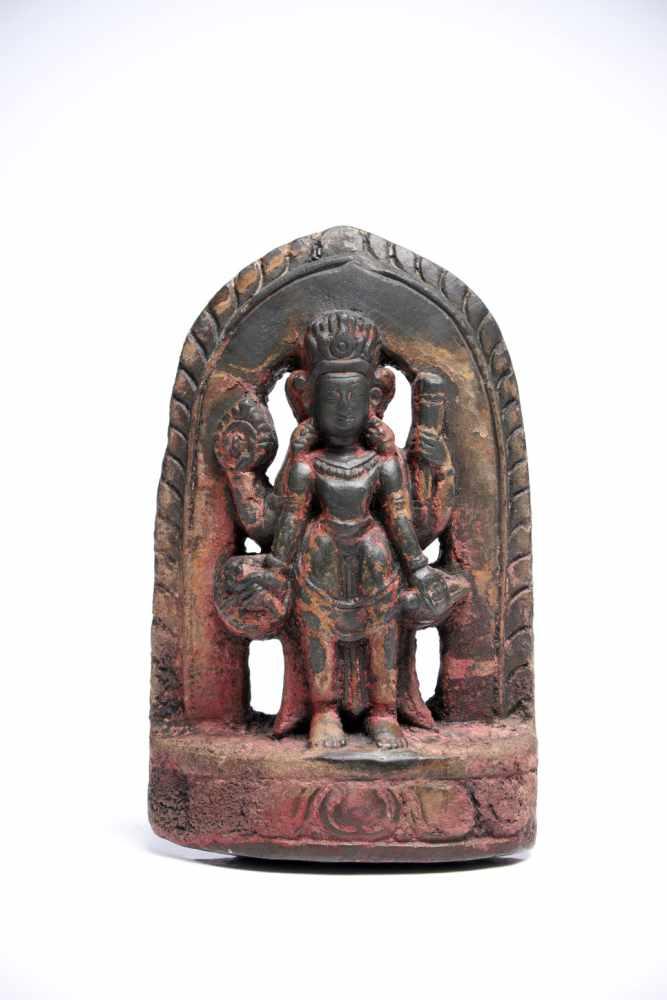 Lot 40 - Standing VishnuStoneNepal / Newar16th ctH: 13 cmA four-armed Vishnu standing on a lotus base with
