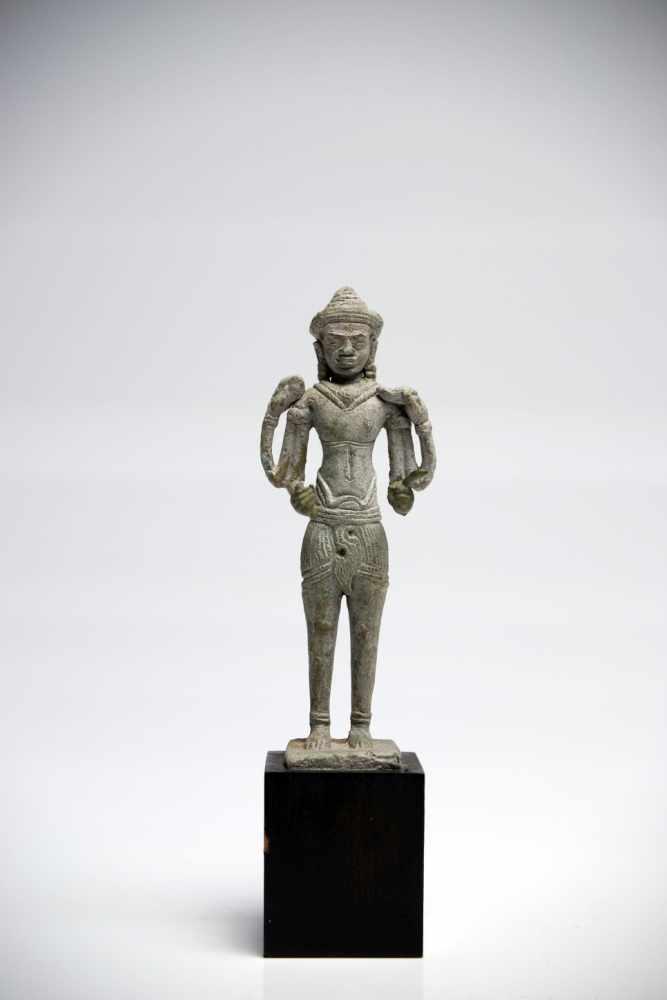 Lot 19 - LokeshvaraBronzeCambodia12th ctH: 11 cmA four-armed lokeshvara in standing position from the Khmer
