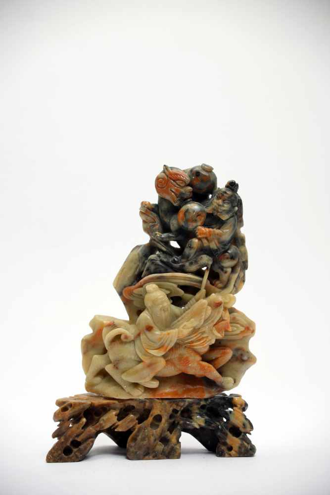 Lot 2 - 2 Men and LionSoapstoneChina19th ctH: 17 cmThis soapstone carving depicts two men and two lions,