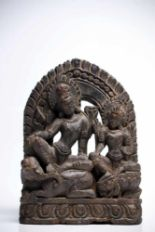 Lot 15 - Indra & IndraniWood carvedNepal17th ctH: 29 cmIndra is a vedic deity in hinduism, the God of