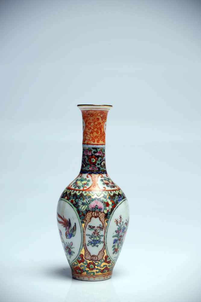 Lot 21 - VasePorcelainChina18th ctH: 13 cmColourfully painted vase with various floral backgrounds. The