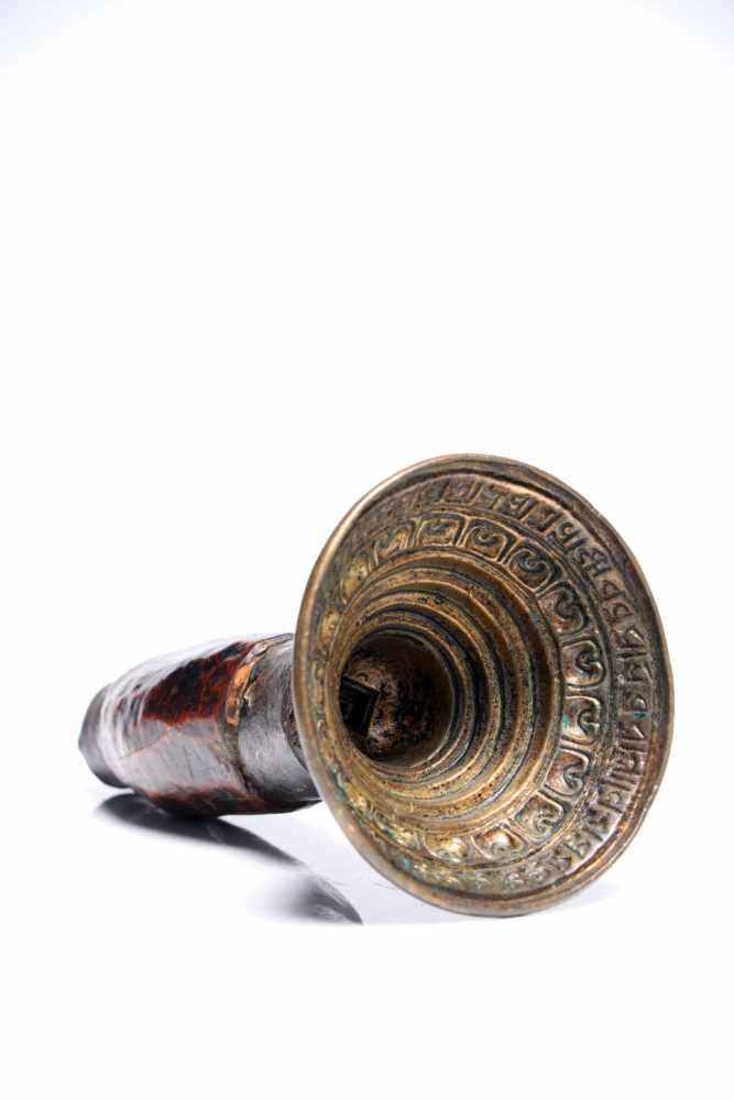 Lot 35 - Tsa Tsa Mold with InscriptionBronze, Iron and WoodTibet16th ctH: 19 cmTsa tsas are tiny votive